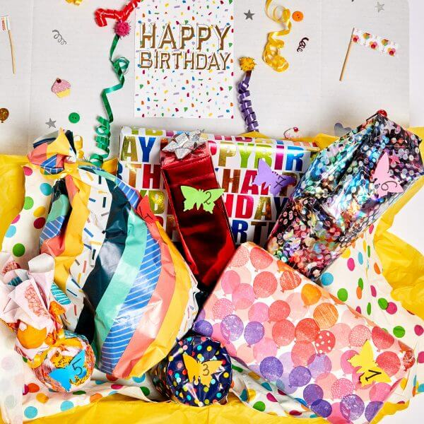 gifts and treats with birthday gift wrapping