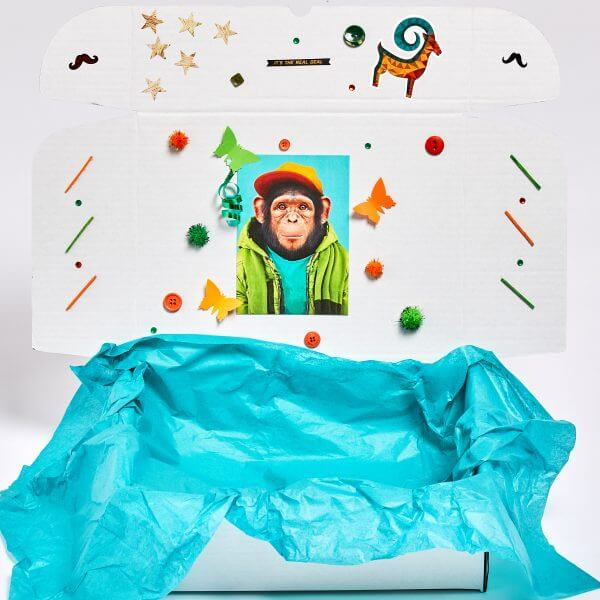 white box with blue tissue and monkey sticker