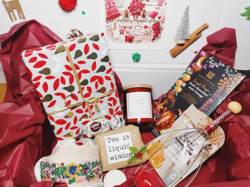 gifts wrapped in christmas paper